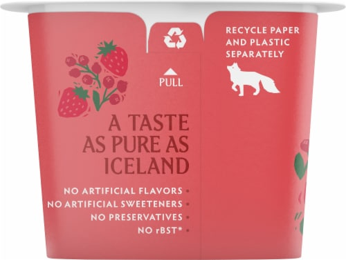 Icelandic Provisions Traditional Strawberry Lingonberry Skyr Perspective: left