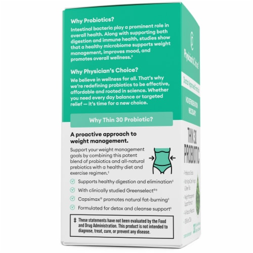 Physician's Choice Thin 30 Probiotic Dietary Supplement Perspective: left