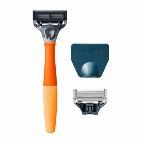 Harry's Bright Orange 5-Blade Men's Razor Kit Perspective: left