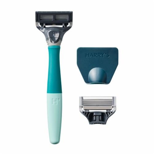 Harry's Tropical Green 5-Blade Men's Razor Kit Perspective: left