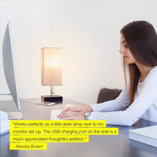 Grace Modern LED Bedside Table & Desk Lamp with Unique Lampshade & USB Port - Havana Brown Perspective: left