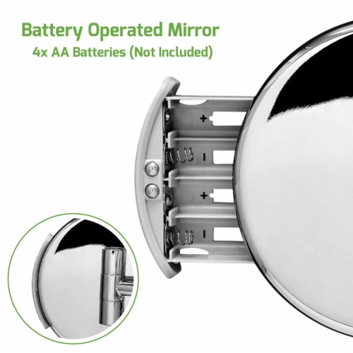 Ovente Polished Chrome Circle Standing Travel Vanity Makeup Mirror Perspective: left