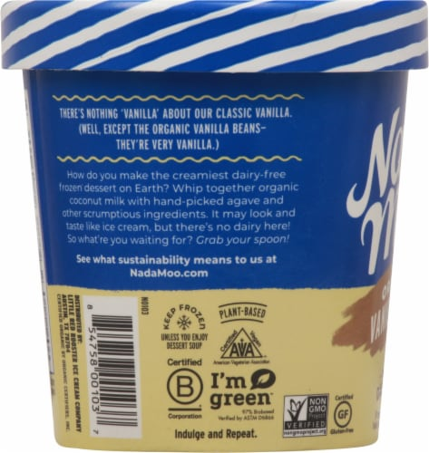 Nadamoo Organic Vanilla Bean Dairy Free Frozen Dessert Perspective: left