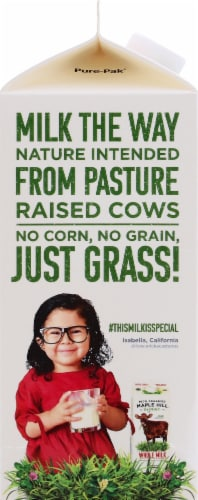 Maple Hill Organic 100% Grassfed Whole Milk Perspective: left