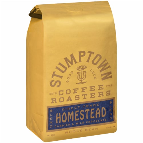 Stumptown Coffee Roasters Homestead Blend Candied & Milk Chocolate Whole Bean Coffee Perspective: left