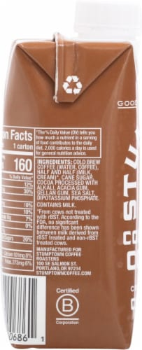 Stumptown Coffee Cold Brew Chocolate Coffee with Cream & Sugar Perspective: left