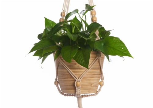 Primitive Planters Macrame Beaded Plant Hanger - Tan Perspective: left