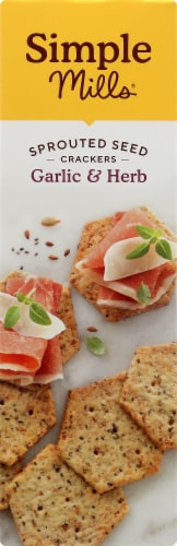 Simple Mills Garlic & Herb Sprouted Seed Crackers Perspective: left