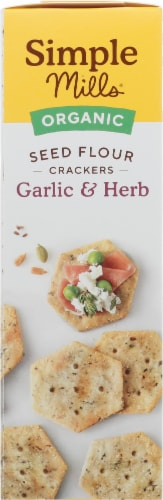 Simple Mills Organic Seed Flour Crackers - Garlic & Herb Perspective: left