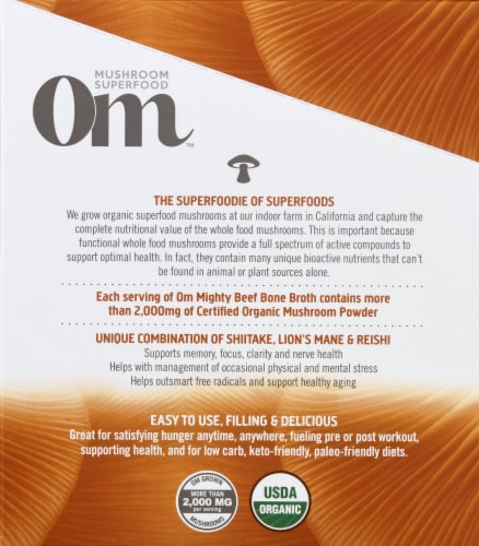 Om Mushroom Mighty Beef Bone Broth Packets 10 Count Perspective: left