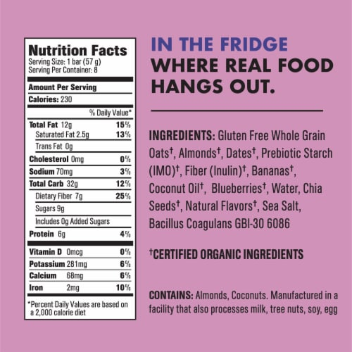 CORE Organic Refrigerated Plant-Based Protein Immunity Bar with Probiotics - Blueberry Banana Almond Perspective: left
