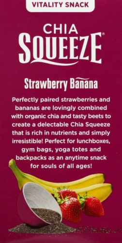 Mamma Chia Vitality Strawberry Banana Chia Squeezes Perspective: left