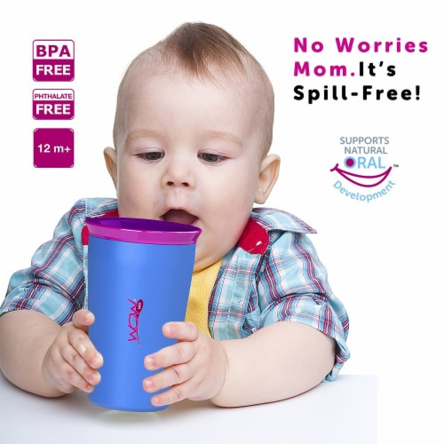 Wow Cup for Kids Original 360 Sippy Cup, Pink with Blue Lid, 9 oz Perspective: left