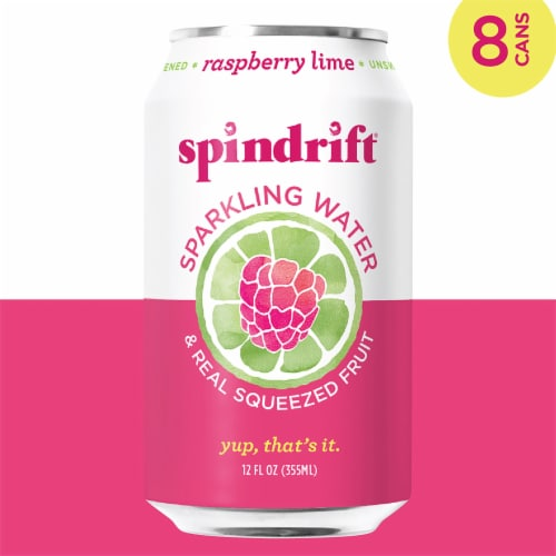 Spindrift Raspberry Lime Sparkling Water Perspective: left