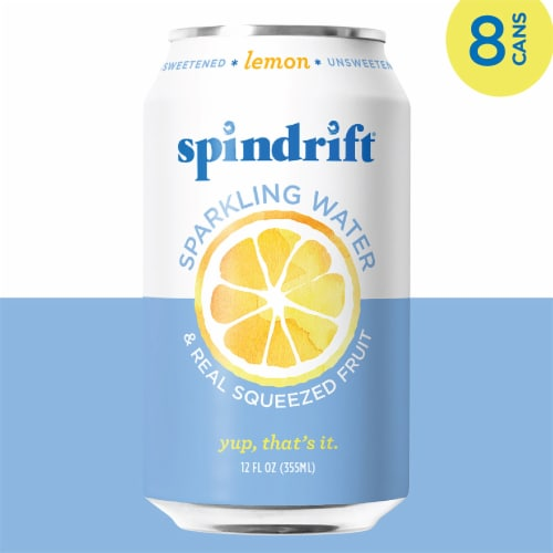 Spindrift Lemon Unsweetened Sparkling Water Perspective: left