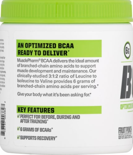 MusclePharm BCAA Essentials Powder Fruit Punch Perspective: left