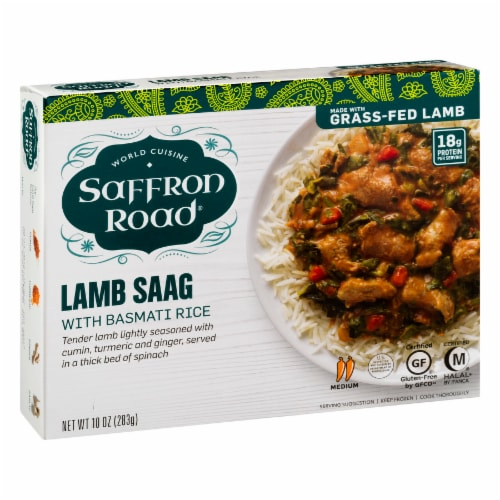 Saffron Road Lamb Saag with Basmati Rice Cuisine Frozen Meal Perspective: left