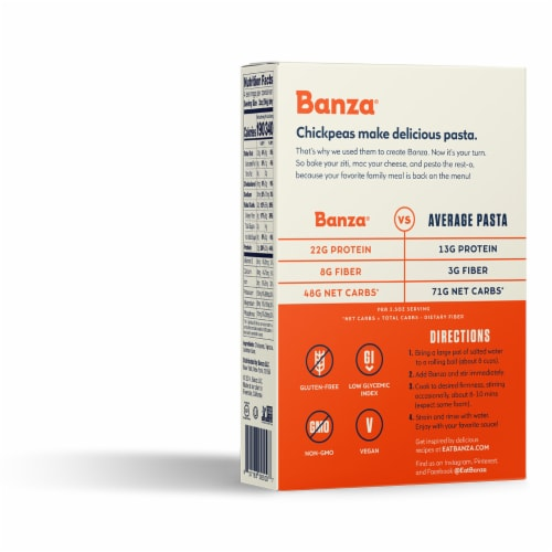 Banza Chickpea Penne Pasta Perspective: left