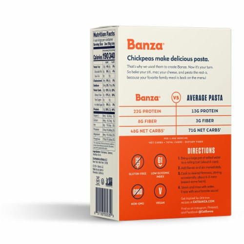 Banza Chickpea Bowties Pasta Perspective: left