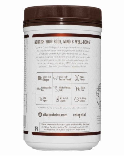 Vital Proteins Hot Cocoa Collagen Latte Supplement Perspective: left