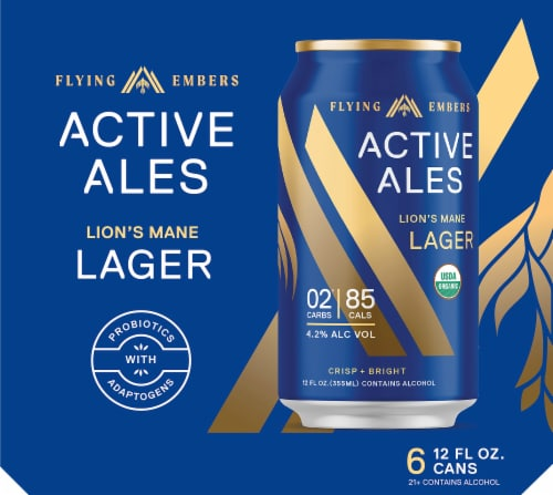 Flying Embers Active Ales Lion's Mane Lager Perspective: left