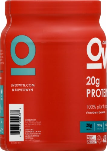 OWYN Strawberry Banana Flavored Plant-Based Protein Powder Perspective: left