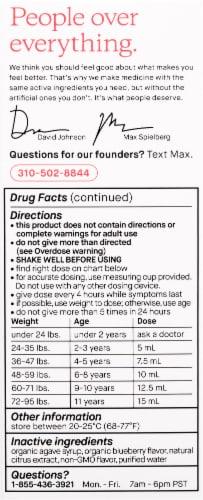 Genexa Kids' Pain & Fever Gluten-Free Blueberry Acetaminophen Oral Suspension Perspective: left