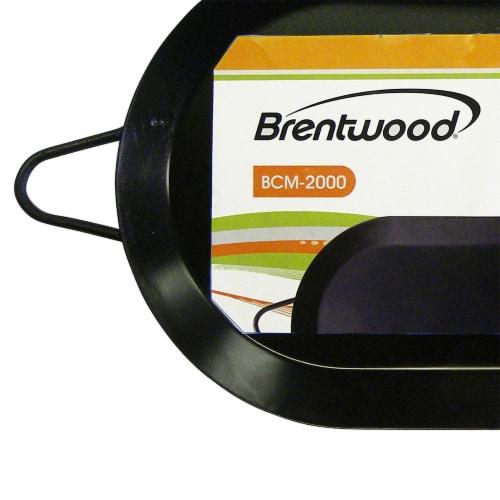 Brentwood 18 inch Carbon Steel Non-Stick Double Burner Comal Griddle, Black Perspective: left