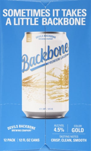 Devils Backbone Brewing Company Backbone Premium Lager Perspective: left