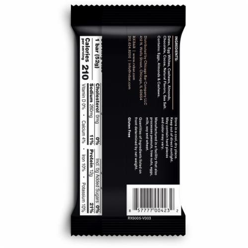 RXBAR Chocolate Sea Salt Protein Bars 5 Count Perspective: left
