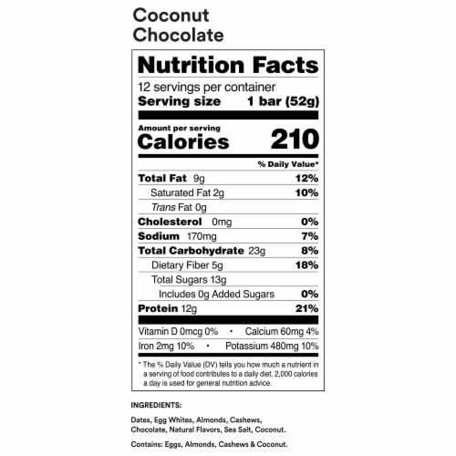 RXBAR Coconut Chocolate Protein Bars 5 Count Perspective: left