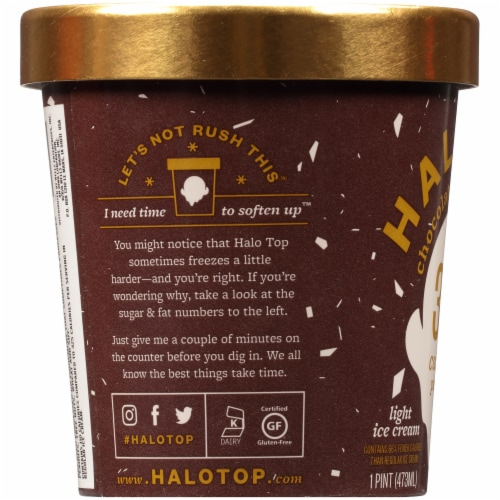 Halo Top Chocolate Mocha Chip Light Ice Cream Perspective: left
