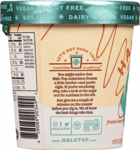 Halo Top Dairy-Free Soy-Free Vegan Sea Salt Caramel Frozen Dessert Perspective: left