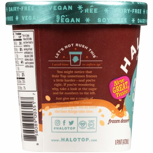 Halo Top Dairy-Free & Soy-Free Vegan Candy Bar Frozen Dessert Perspective: left