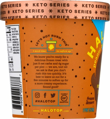 Halo Top Keto Peanut Butter Chocolate Ice Cream Perspective: left