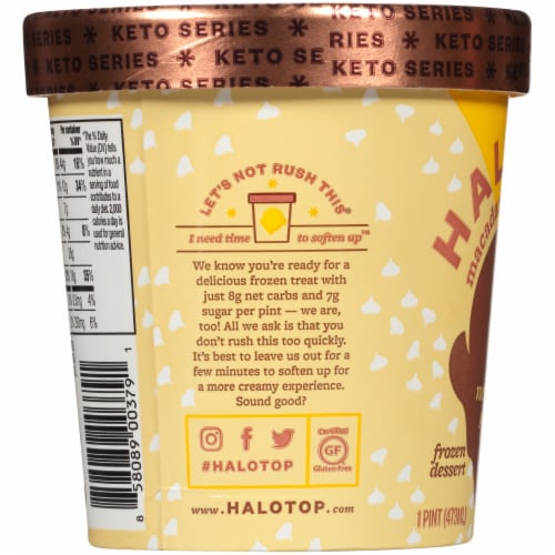 Halo Top Keto White Chocolate Macadamia Ice Cream Perspective: left