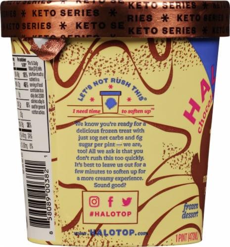 Halo Top Keto Chocolate Cheesecake Ice Cream Perspective: left