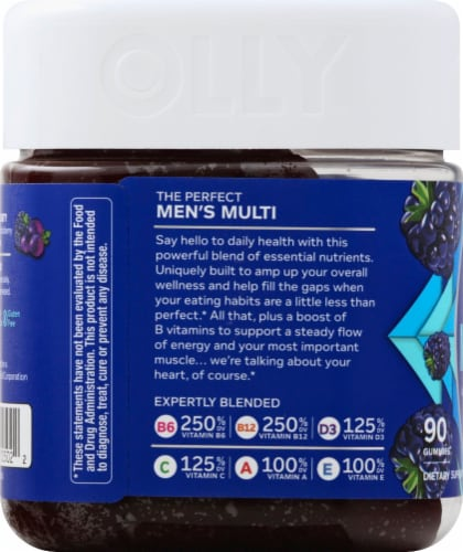 Olly The Perfect Men's Multi Blackberry Blitz Dietary Suplement Gummies Perspective: left