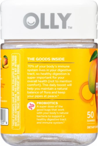 Olly Tropical Mango Probiotic Gummies Perspective: left