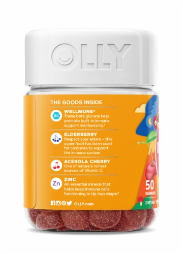 Olly Kids Immunity Dietary Supplement Gummies Perspective: left
