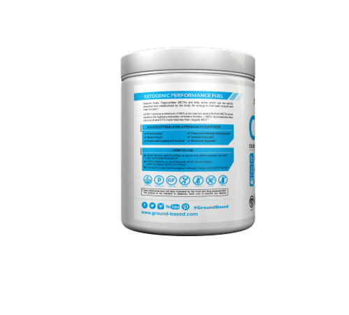 Ground-Based Nutrition C8 MCT Hazelnut Supercharged MCT Oil Powder Perspective: left