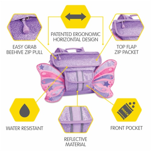 Bixbee Small Sparkalicious Butterflyer Backpack - Purple Perspective: left