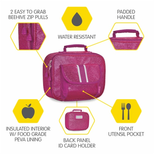 Bixbee Sparkalicious Lunchbox - Ruby Raspberry Perspective: left