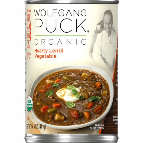 Wolfgang Puck Thick Hearty Lentil & Vegetable Organic Soup Perspective: left