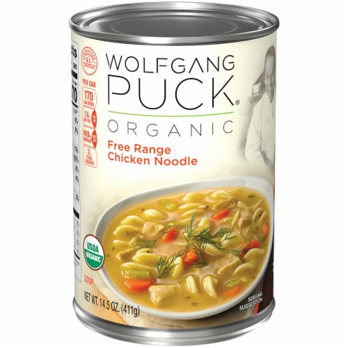 Wolfgang Puck Free Range Chicken and Egg Noodles Soup Perspective: left