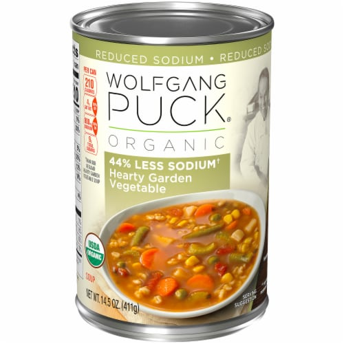 Wolfgang Puck Organic Reduced Sodium Hearty Garden Vegetable Soup Perspective: left