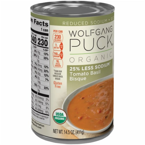 Wolfgang Puck Organic Reduced Sodium Tomato Basil Bisque Soup Perspective: left