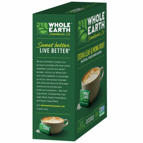 Whole Earth Stevia Leaf & Monk Fruit Natural Sweetener Packets Perspective: left