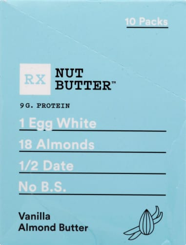 RX Nut Butter Vanilla Almond Butter Packets Spread 10 Count Perspective: left