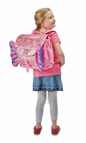 Bixbee Medium Sparkalicious Butterflyer Backpack - Pink Perspective: left